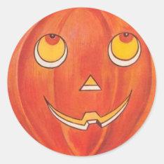 Halloween Pumpkin Classic Round Sticker at Zazzle