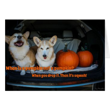 Halloween Themed Halloween pumpkin corgi card