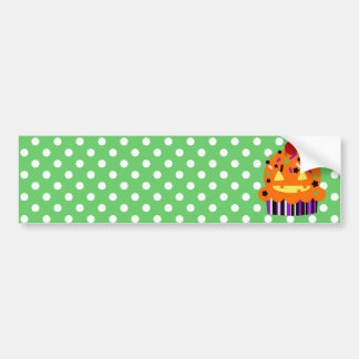 Halloween Pumpkin Cupcake Bumper Sticker