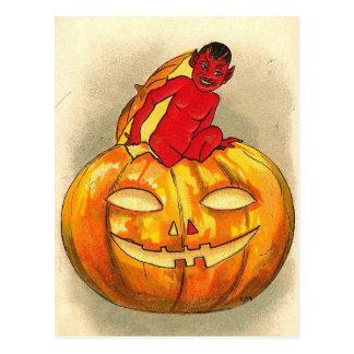 Halloween Pumpkin Devil Baby Postcard