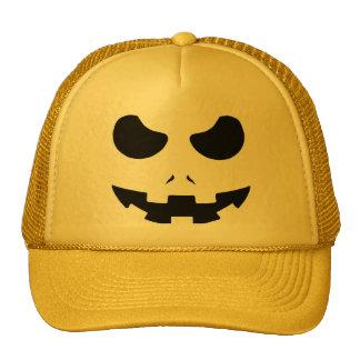 halloween pumpkin evil face smile trucker hat