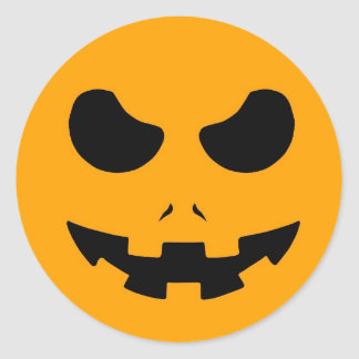 halloween pumpkin evil face smile horror scary classic round sticker