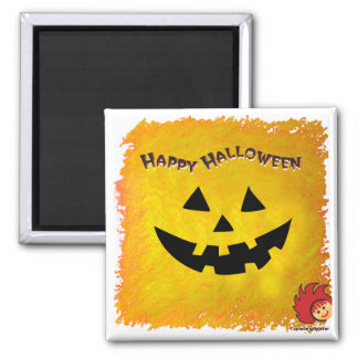 Halloween Pumpkin Face 2 2 Inch Square Magnet