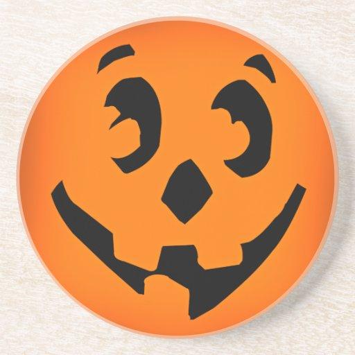 Halloween Pumpkin Face Drink Coasters
