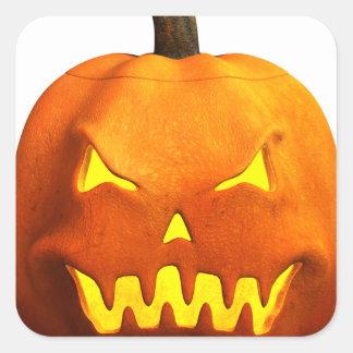 Halloween Pumpkin Face - Evil Square Sticker