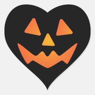 Halloween Pumpkin Face Heart Sticker