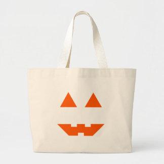 Halloween Pumpkin Face Large Tote Bag