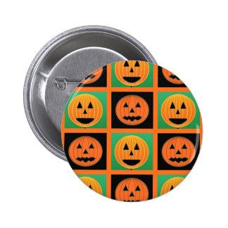 Halloween pumpkin face pattern pinback button