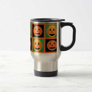 Halloween pumpkin face pattern travel mug