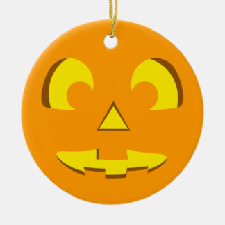 Halloween Pumpkin Face Round Ceramic Ornament