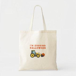 Halloween Pumpkin Face Tractor For Boys Tote Bag