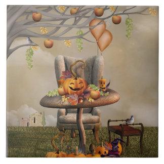Halloween Pumpkin Feast Fantasy Art Tile