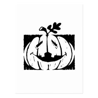 halloween pumpkin fence postcard