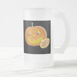 Halloween Pumpkin Frosted Glass Beer Mug