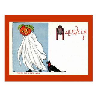 Halloween Pumpkin Ghost Black Cat Vintage Postcards