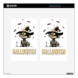 Halloween pumpkin girl decal for kindle fire