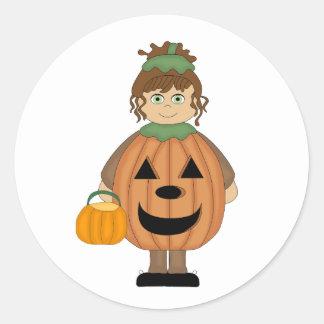 Halloween pumpkin girl round sticker