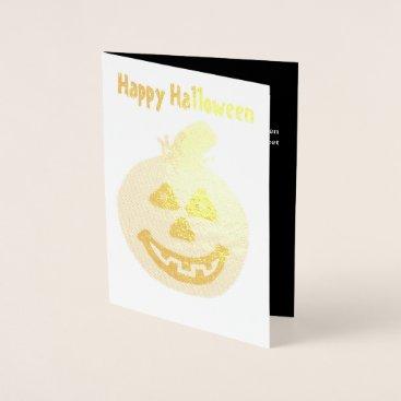 Halloween Themed Halloween Pumpkin Gold Foil Greeting Card