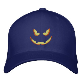 Halloween Pumpkin Grin Embroidered Baseball Cap