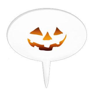 Halloween pumpkin happy face cake pick