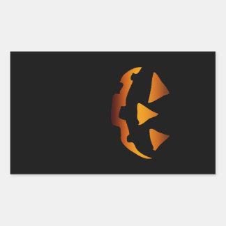 Halloween pumpkin happy face rectangular sticker