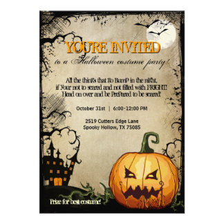Halloween Pumpkin Haunted House Party Invitations