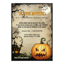 Halloween Pumpkin Haunted House Party Invitations