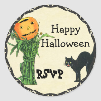 HALLOWEEN PUMPKIN HEAD Cornstalk and Black Cat Classic Round Sticker
