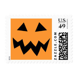 Halloween pumpkin head face carving postage stamps