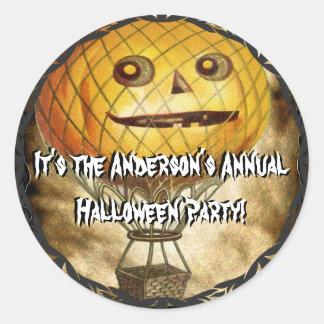 HALLOWEEN Pumpkin Head Hot Air Balloon Classic Round Sticker