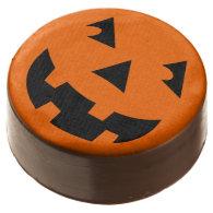 Halloween Pumpkin Head Jack-o-Lantern Chocolate Dipped Oreo