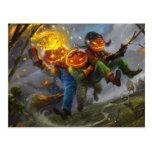 Halloween Pumpkin Head Monsters On A Broom Postcard