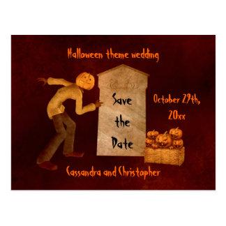 Halloween pumpkin head scarecrow fun save the date postcard