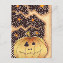 Halloween Pumpkin Holiday Postcard