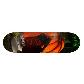 Halloween, pumpkin house with mushrooms as skulls skateboard deck