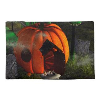 Halloween, pumpkin house with mushrooms as skulls travel accessory bags