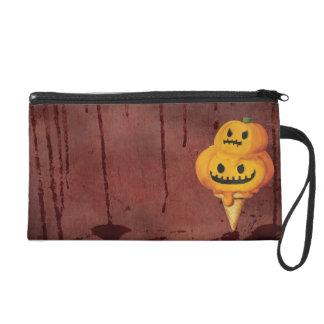 Halloween Pumpkin Ice Cream Cone Wristlet Clutch