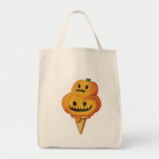 Halloween Pumpkin Ice Cream Cone Canvas Bags
