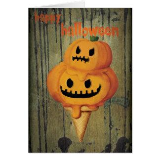 Halloween Pumpkin Ice Cream Cone Card