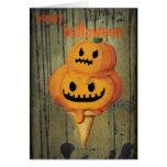 Halloween Pumpkin Ice Cream Cone Greeting Card