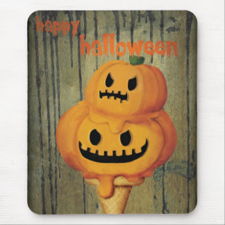 Halloween Pumpkin Ice Cream Cone Mouse Pad