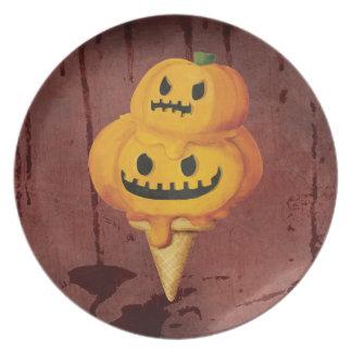 Halloween Pumpkin Ice Cream Cone Party Plates