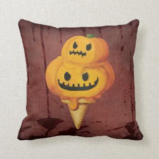 Halloween Pumpkin Ice Cream Cone Throw Pillows