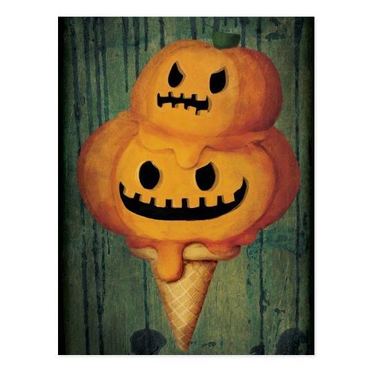 Halloween Pumpkin Ice Cream Cone Postcard