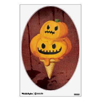 Halloween Pumpkin Ice Cream Cone Wall Decal