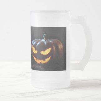 Halloween Pumpkin Jack-O-Lantern Spooky Frosted Glass Beer Mug