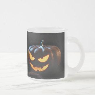 Halloween Pumpkin Jack-O-Lantern Spooky Frosted Glass Coffee Mug