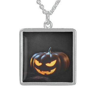Halloween Pumpkin Jack-O-Lantern Spooky Sterling Silver Necklace