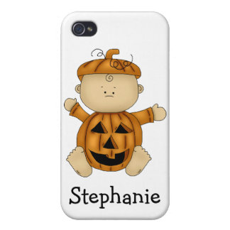 Halloween Pumpkin Kid-Personalized Name iPhone 4 Cover