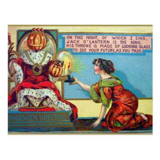Halloween pumpkin king Vintage Holiday postcard